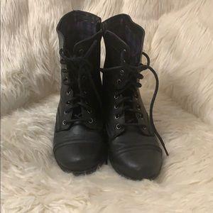 girls black combat boots